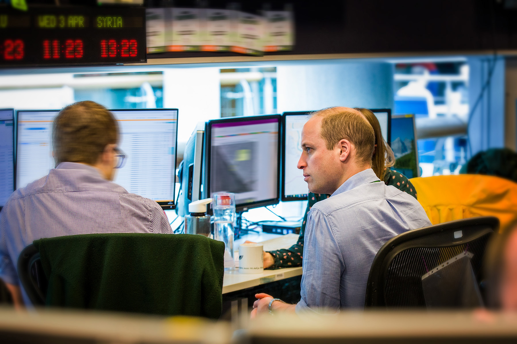 The Duke of Cambridge working alongside teams in GCHQ's 24/7 operations centre.