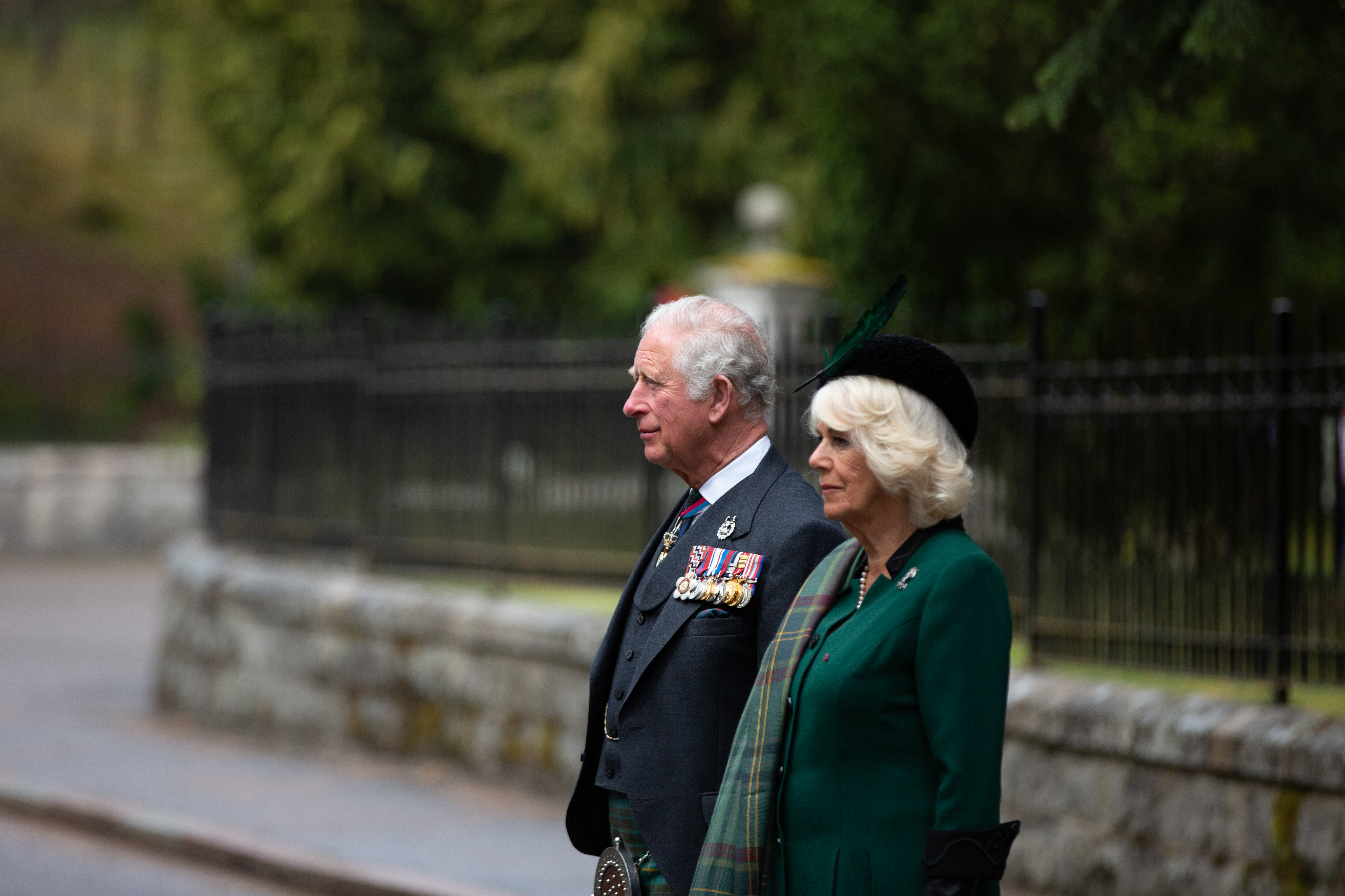 The Prince of Wales and The Duchess of Cornwall lead a 2-minute silence on VE Day