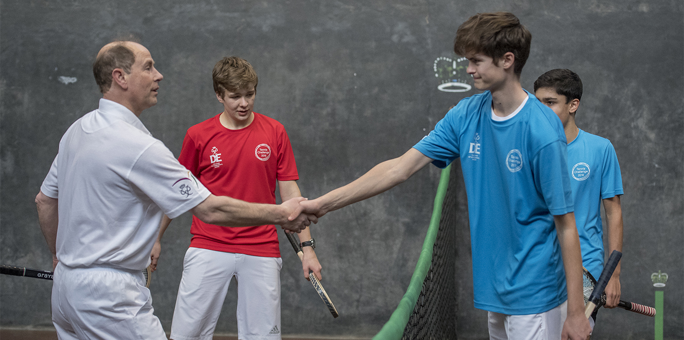 The Earl of Wessex participates in a Real Tennis match