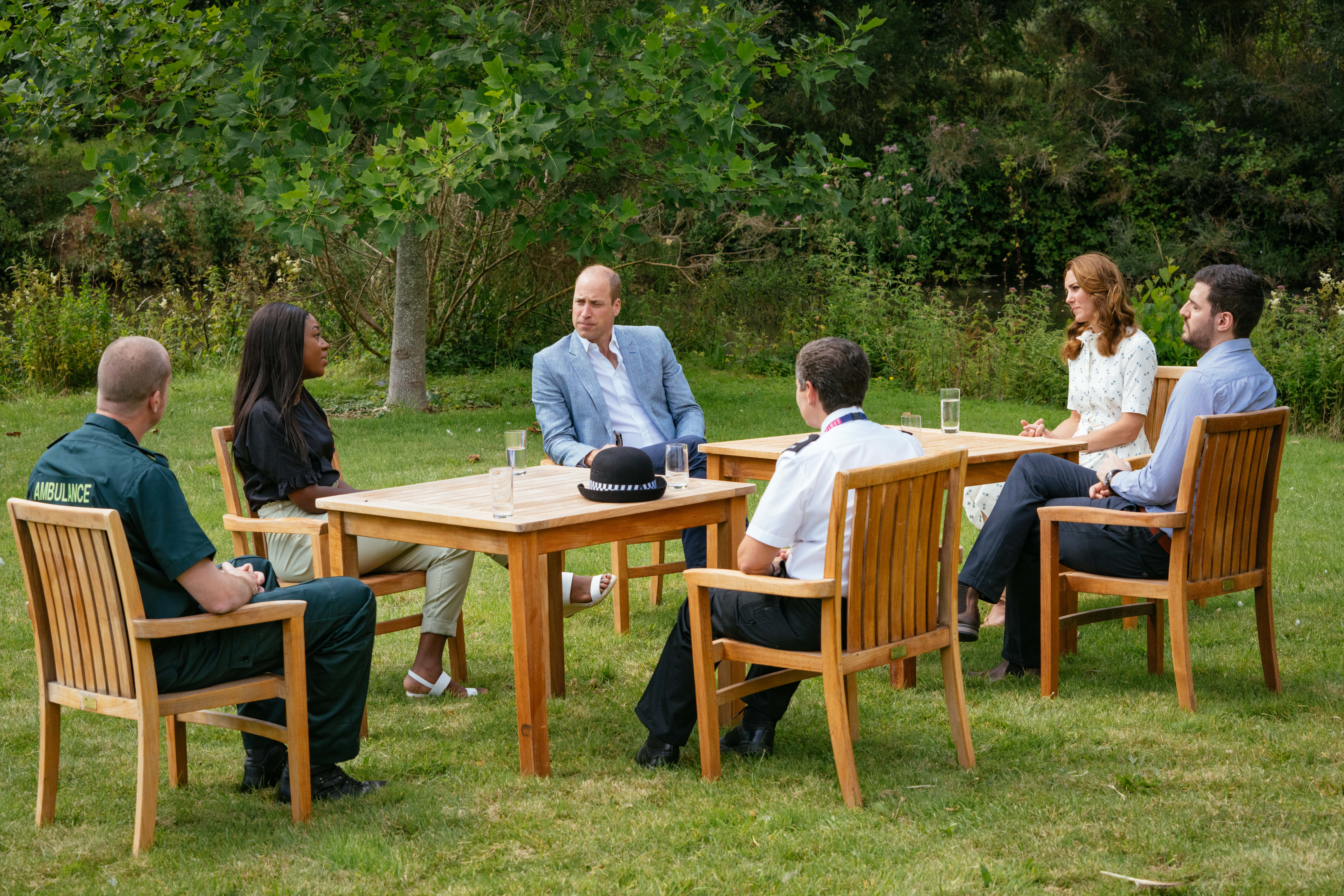 The Duke and Duchess speak to four representatives from organisations which will benefit from The Royal Foundation'sCOVID-19 Response Fund, including two emergency responders and two mental health counsellors