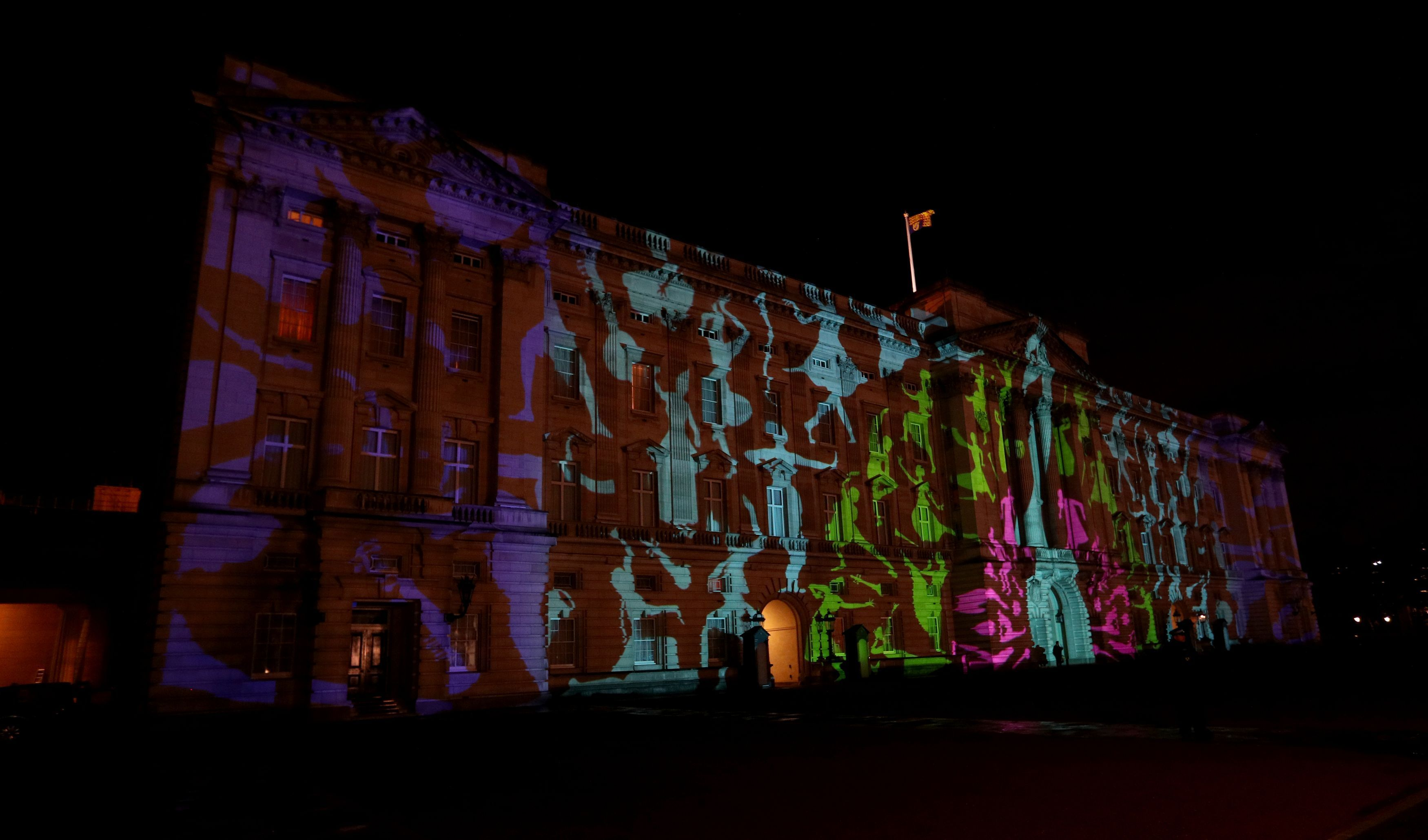 Projection on the front of Buckingham Palace