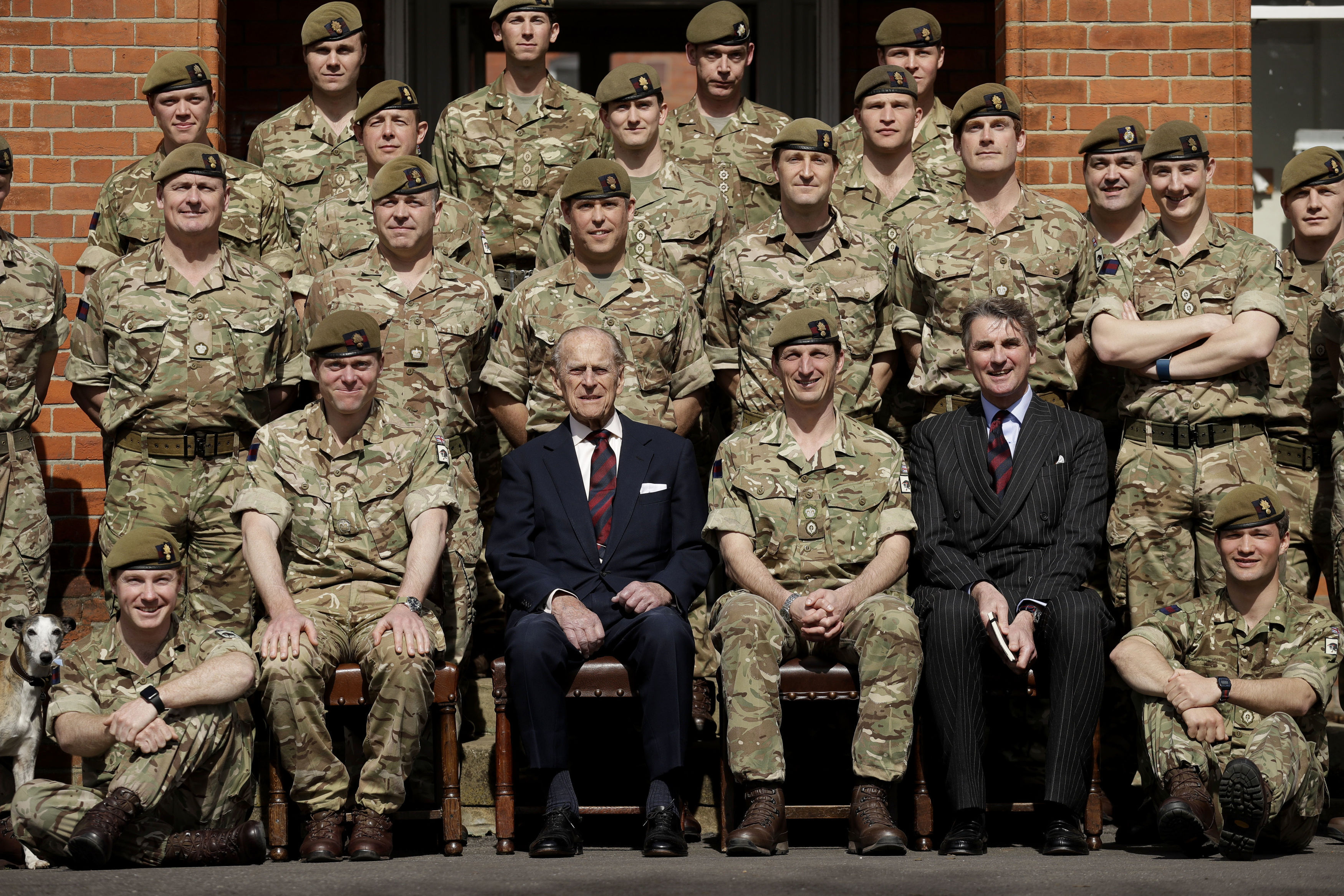 The Duke of Edinburgh poses for a group photo with the Grenadier Guards