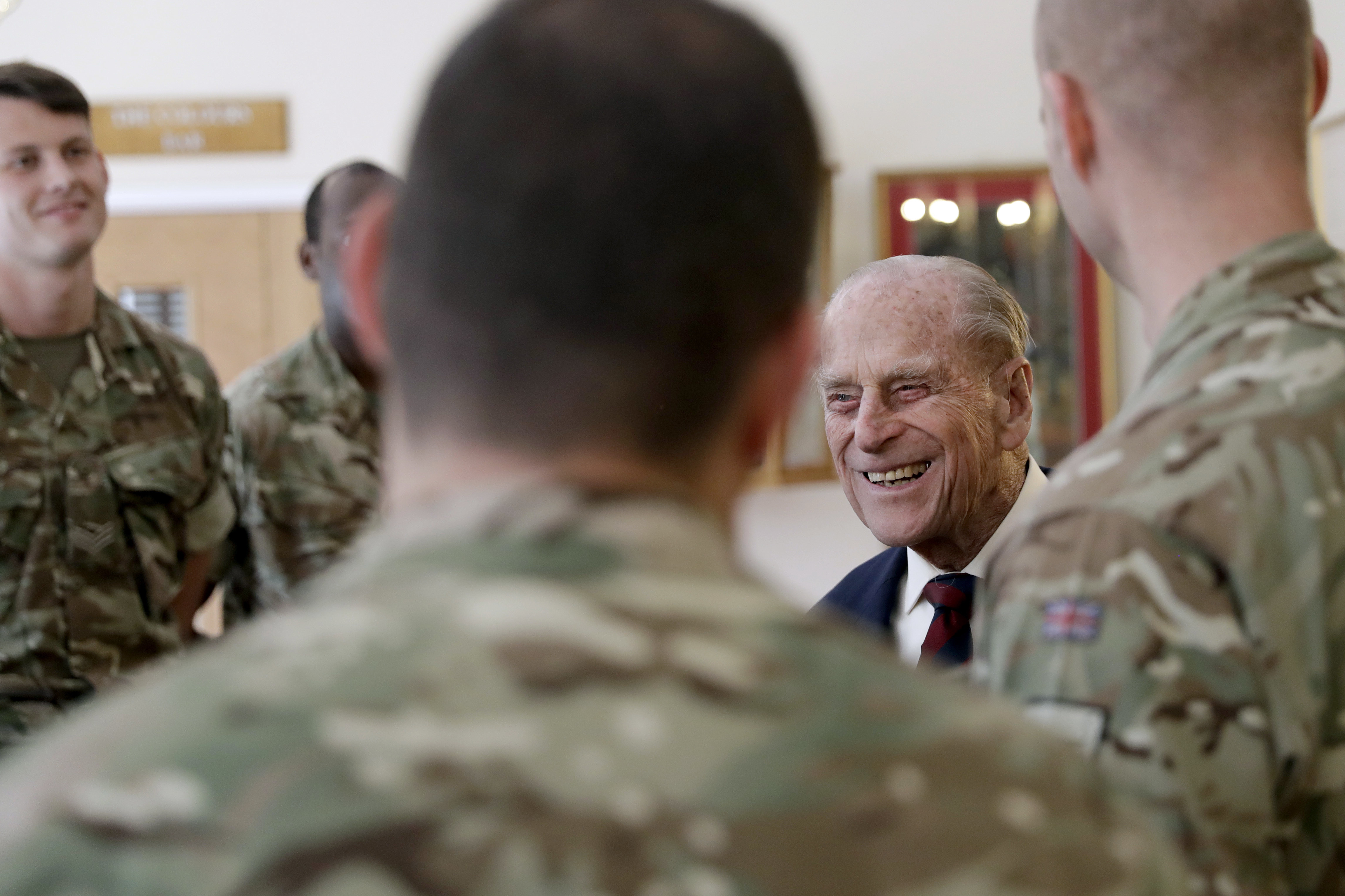 The Duke of Edinburgh meets soldiers in the Sergeants' Mess