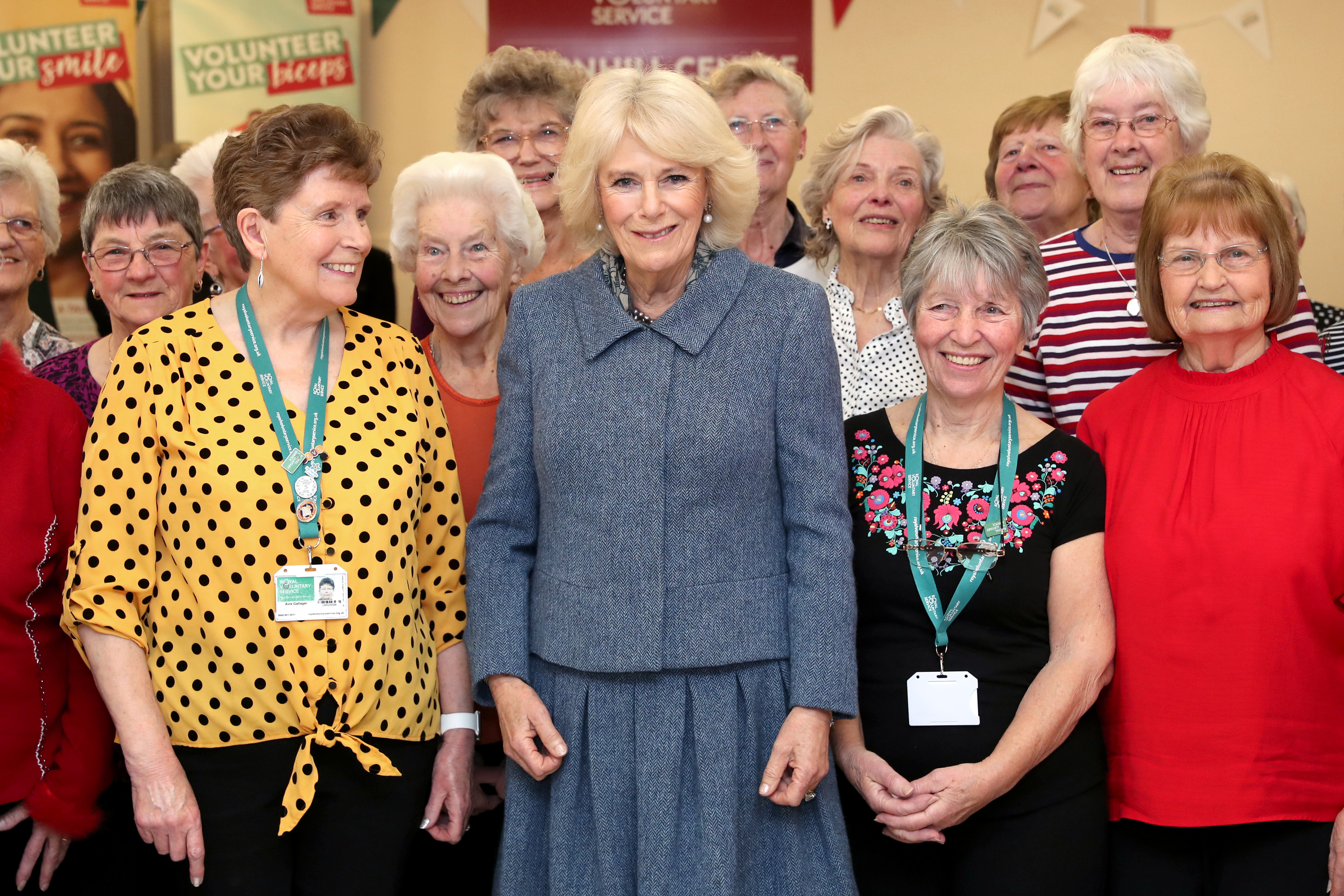 The Duchess of Cornwall with volunteers in Banbury