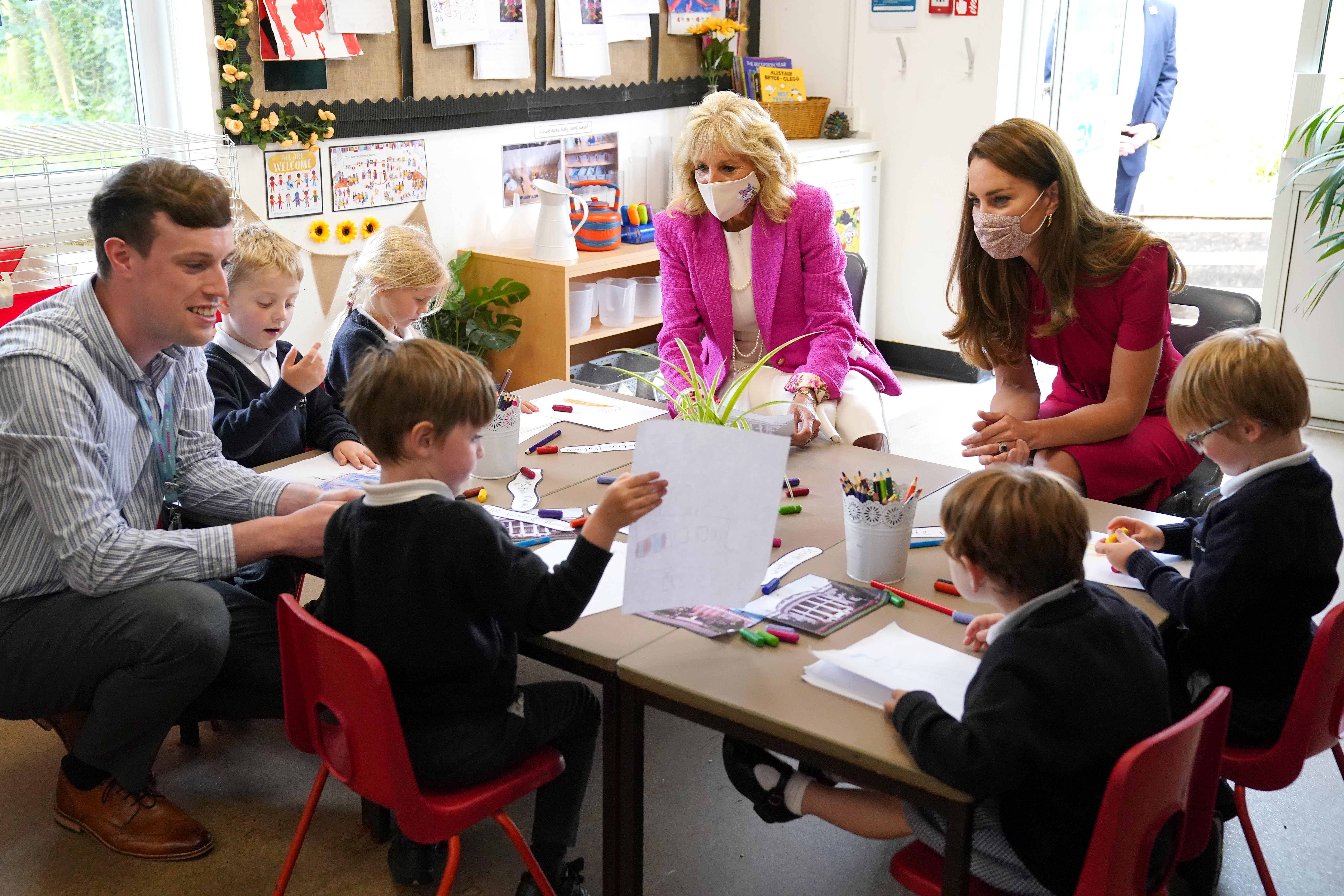 The Duchess of Cambridge and Dr Biden at a School in Cornwall