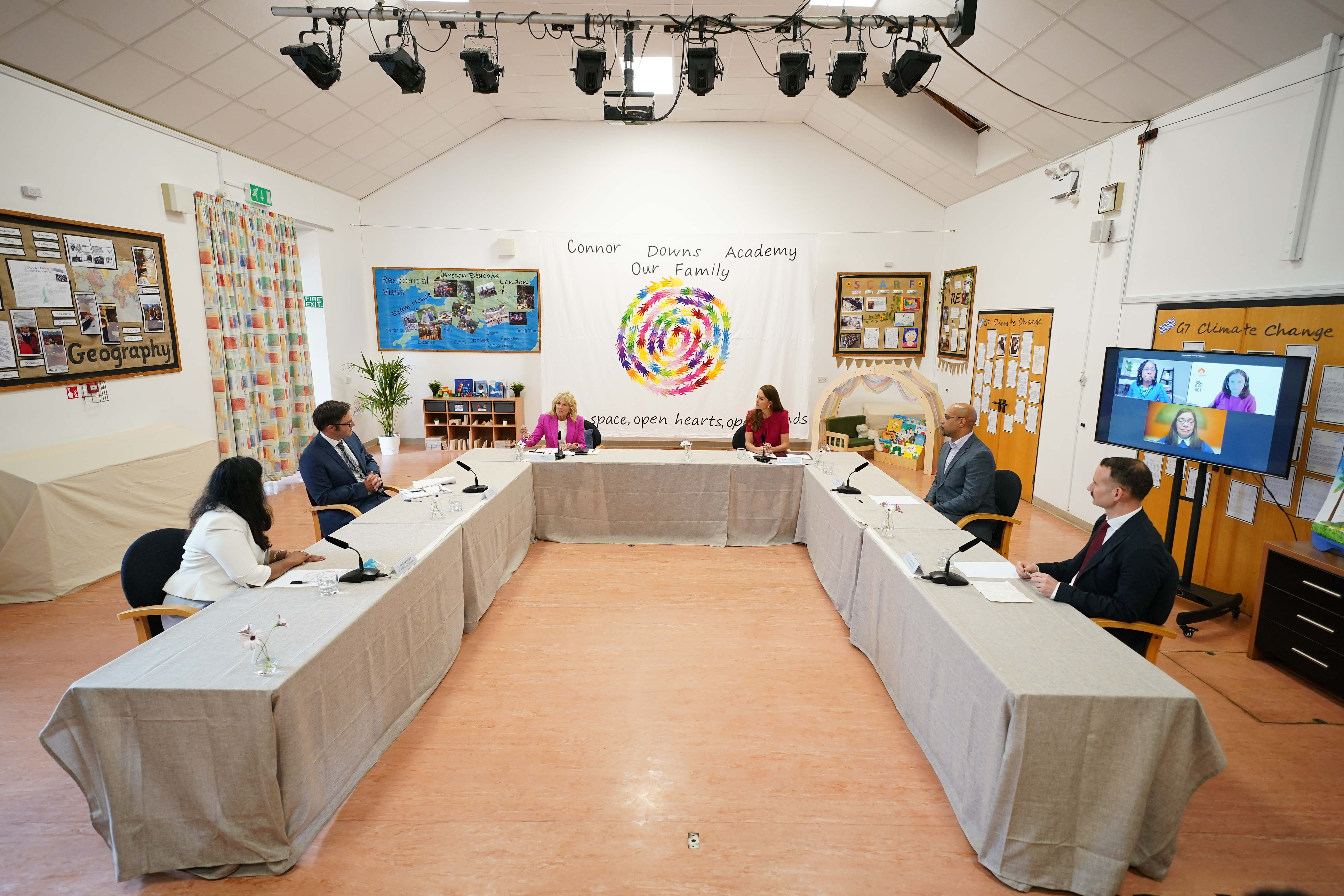 The Duchess of Cambridge and Dr Biden participate in an education round-table.