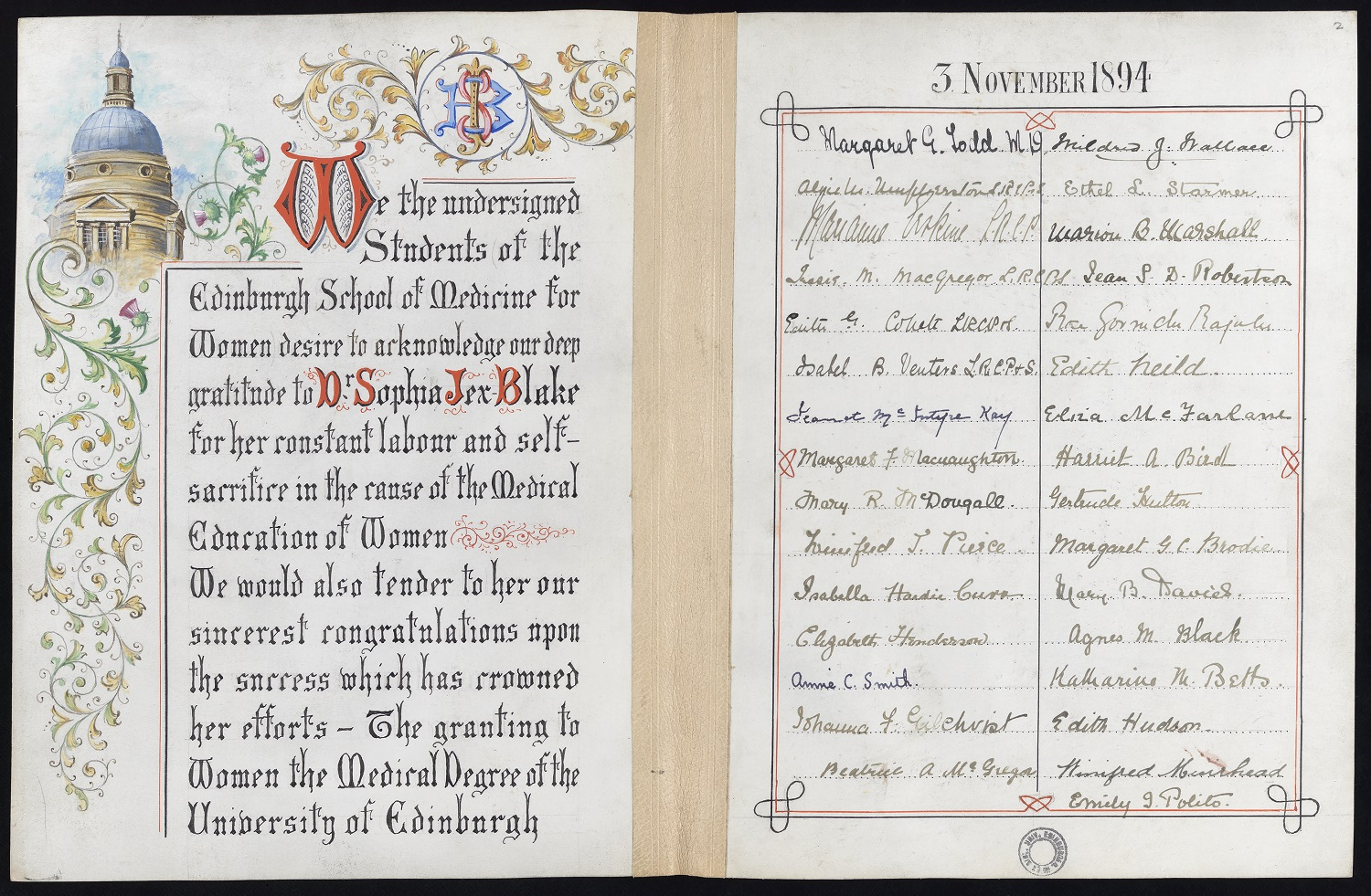 The Princess Royal honours the Edinburgh Seven, whose campaigning led to the passing of the UK Medical Act 1876