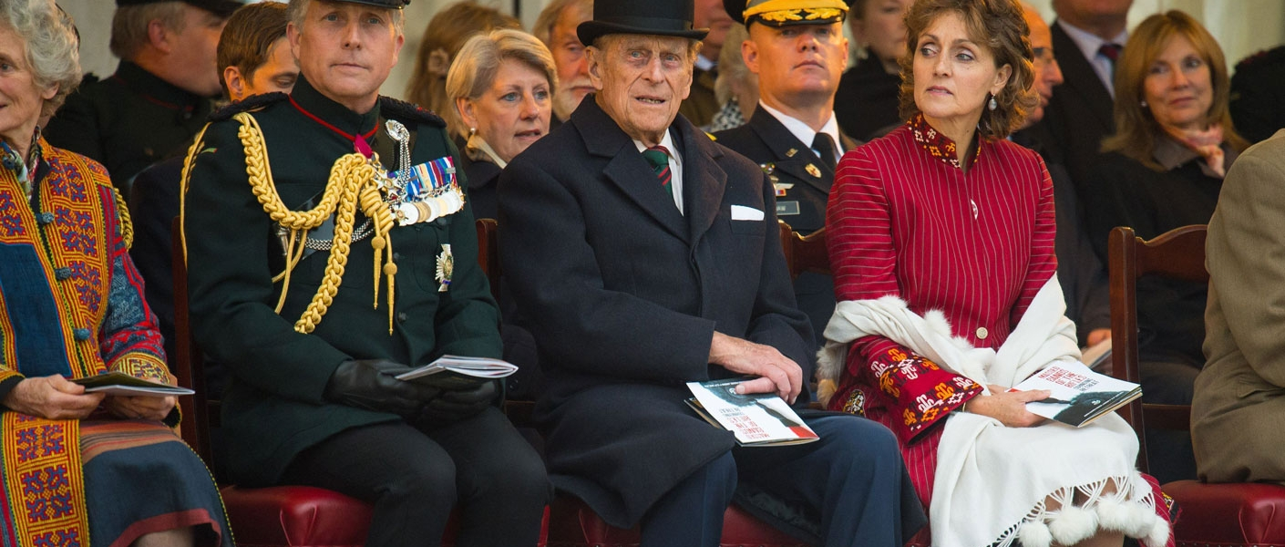 The Duke of Edinburgh, Colonel-in-Chief of the Rifles takes the salute at Sounding Retreat on Horse Guards Parade
