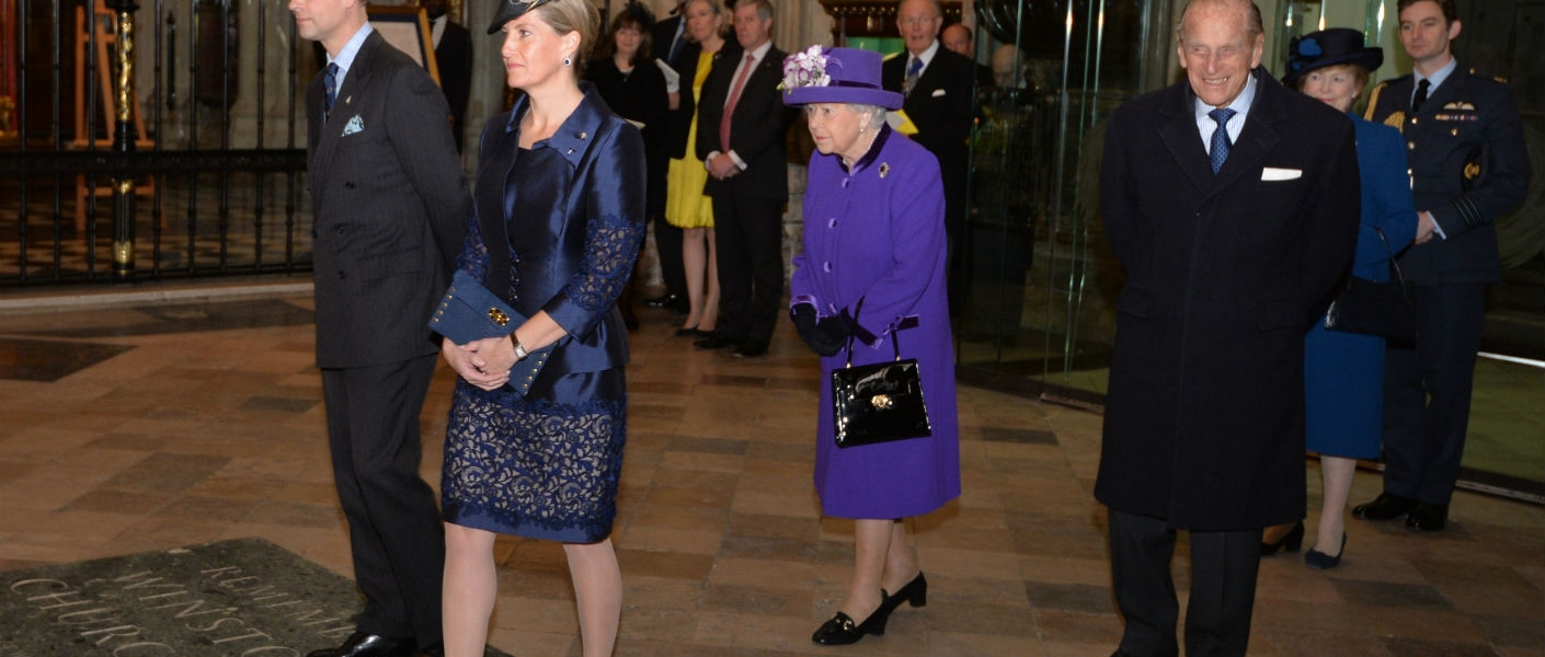 The Queen The duke of Edinburgh Earl and Countess of Wessex attend service of thanksgiving