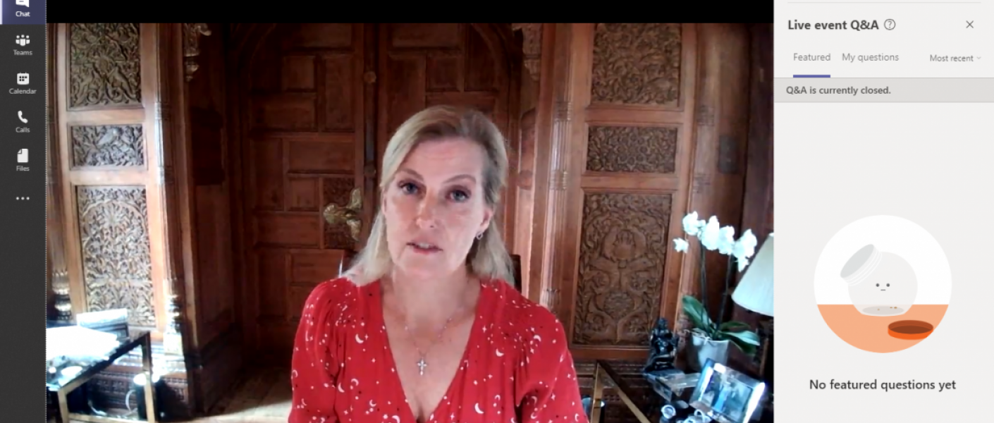 The Countess of Wessex on a video call with the Women's Network Forum
