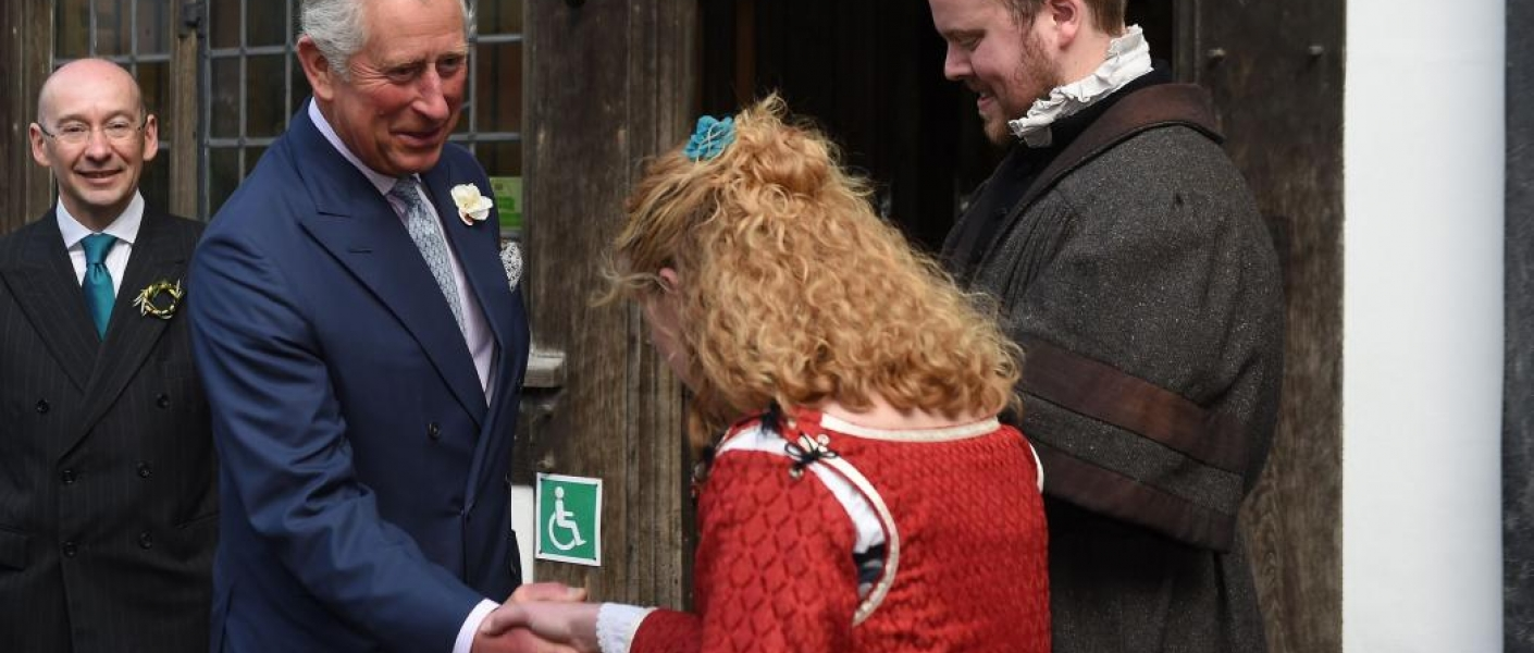 The Prince of Wales visits Shakespeare's New Place, the playwright's adult home for 19 years.