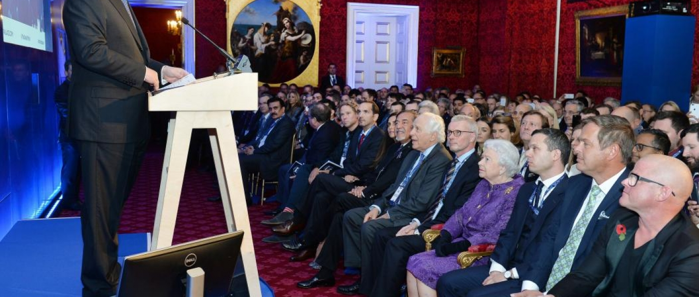 The Queen watches a speech by the Duke of York at St James's Palace
