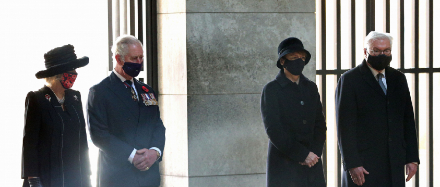 (Left to right) The Duchess of Cornwall, The Prince of Wales, Elke Buedenbender and her husband, President Frank-Walter Steinmeier at the Neue Wache Central Memorial in Berlin, Germany, to commemorate the National Day of Mourning.