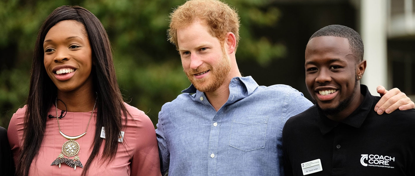 Prince Harry joins apprentices, coaches and supporters atLord's Cricket Club to mark the expansion of the Coach Core sports coaching apprenticeship programme...