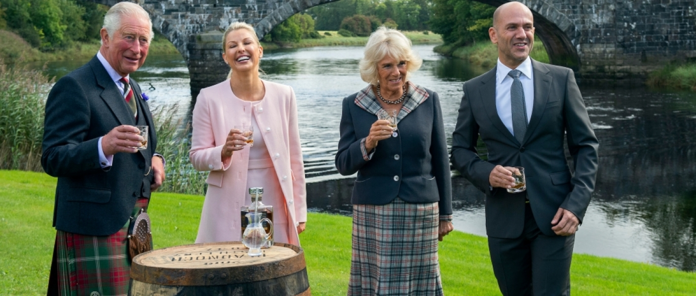 The Duke and Duchess of Rothesay at Bladnoch Distillery in Scotland