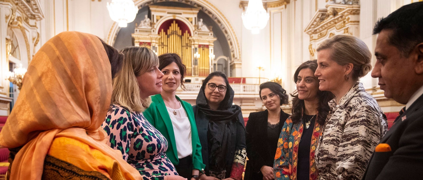 The Countess hosts a reception on International Women's Day to celebrate women peacebuilders