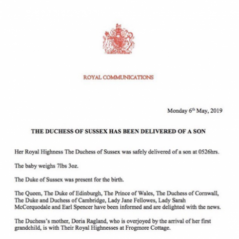 The Duchess of Sussex has been delivered of a son